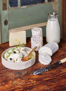 Some of the beautiful home made cheese produced at Tolpuddle Goat Cheese & Farm Goods