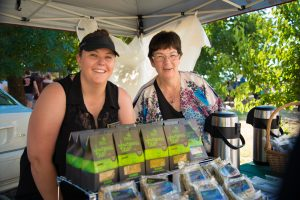 Narelle and Trish Forrest at a farmers' market