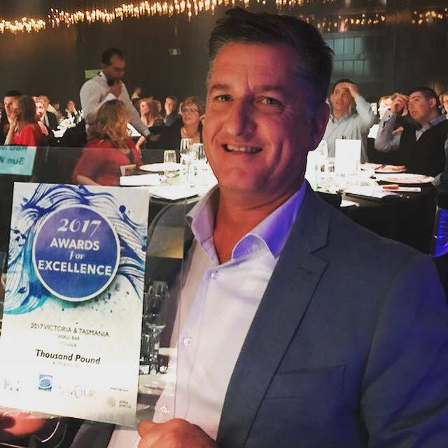 Denis Lucey collects the Savour Award at a presentation in Melbourne in August.